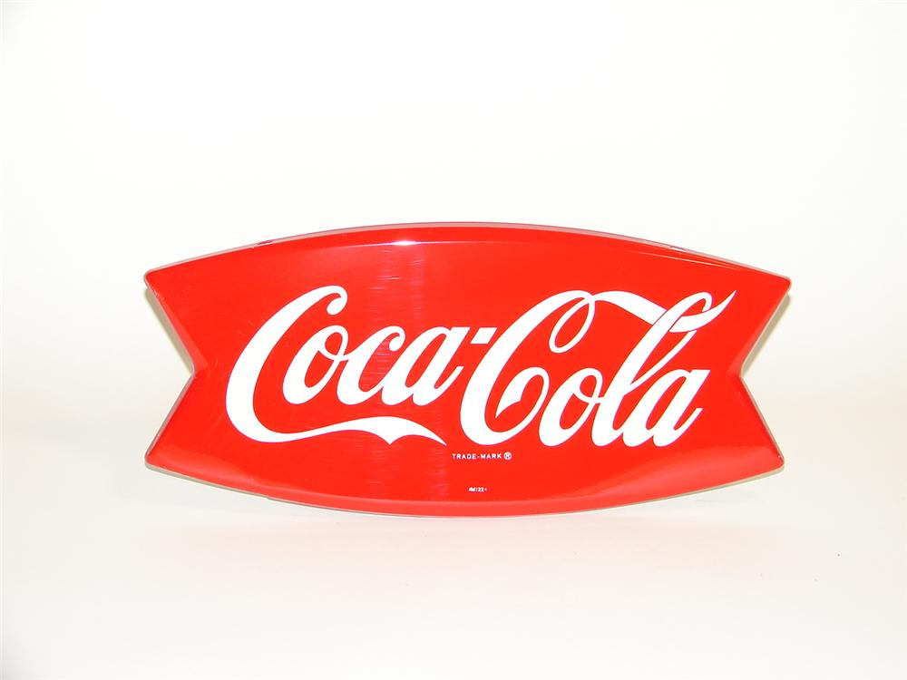 N.O.S. 1950s Coca-Cola three dimensional die-cut tin fishtail shaped sign. - Front 3/4 - 89516