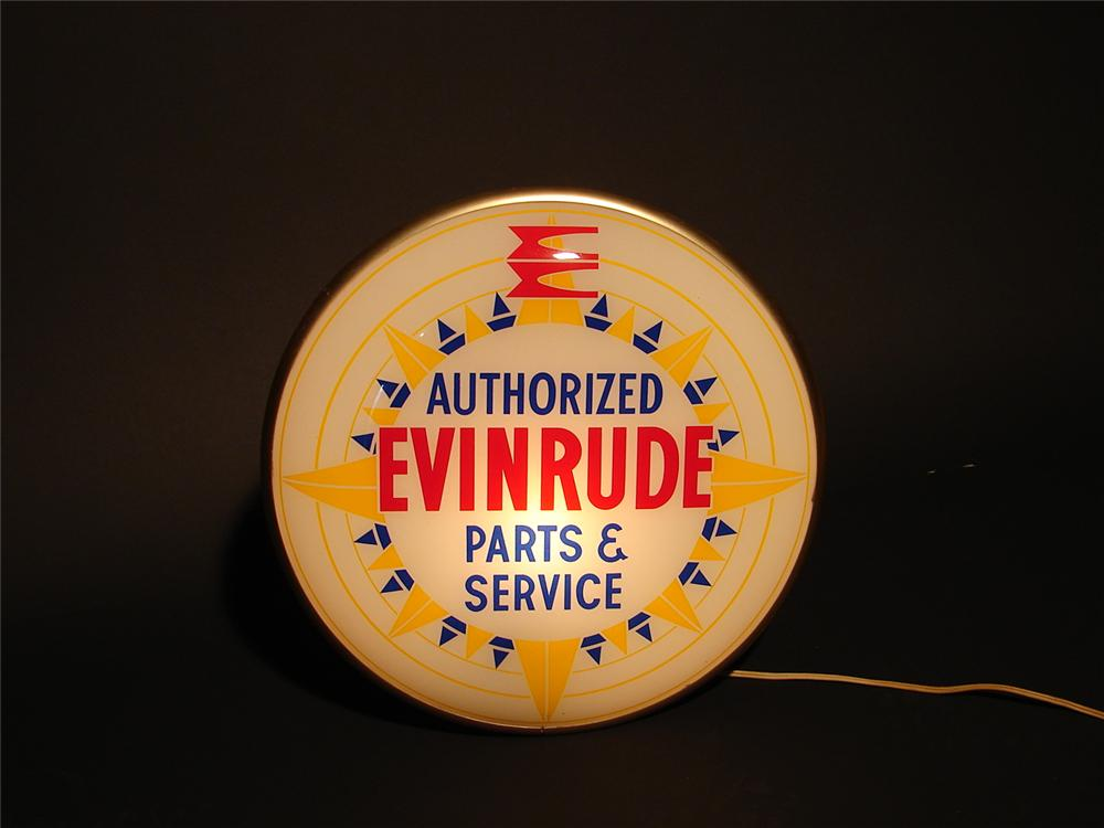 Amazing N.O.S. 1950s Evinrude Outboard Motors light-up dealership sign. - Front 3/4 - 89517