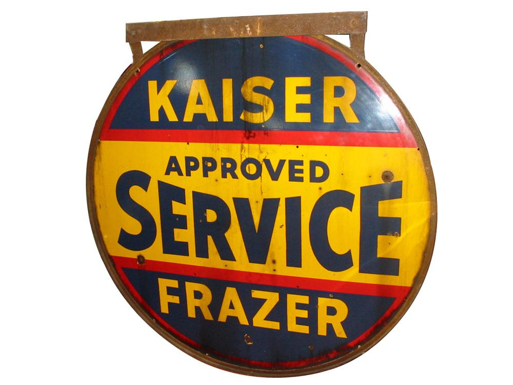 1940s-50s Kaiser-Frazer double-sided porcelain dealership sign. - Front 3/4 - 89518