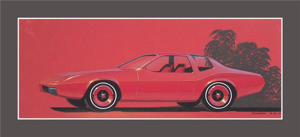 From the Chrysler Design Studios - A 1974 concept drawing for a new Plymouth Duster. - Front 3/4 - 89533