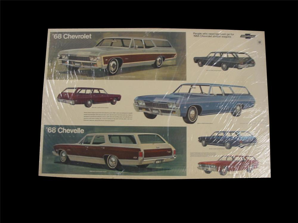 Choice 1968 Chevrolet Automobiles showroom display cardboard sign featuring their Station wagon lineup. - Front 3/4 - 89535