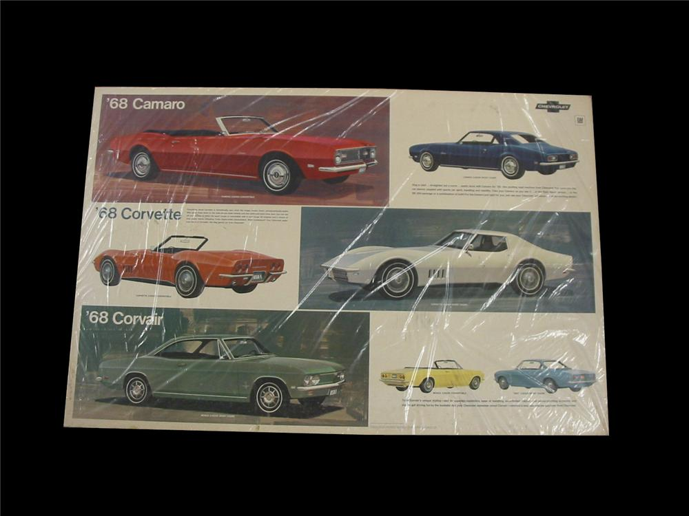 Killer 1968 Chevrolet Automobiles dealership showroom display cardboard sign featuring Corvette, Camaro and Corvair. - Front 3/4 - 89537