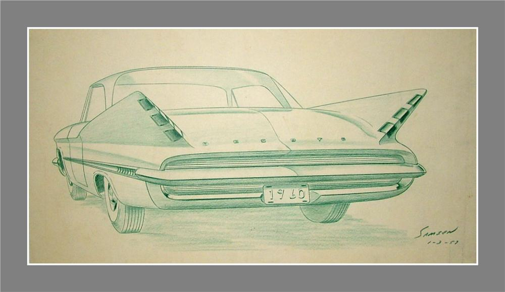 From the Chrysler Design Studios - An original 1957 concept drawing for the rear end of the 1960 Desoto. - Front 3/4 - 89540