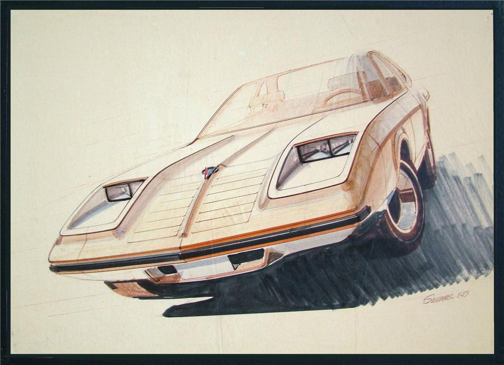 From the Chrysler design Studios - A 1973 concept for a new body Plymouth Duster by Chrysler Designer Fred Schimmel. - Front 3/4 - 89541