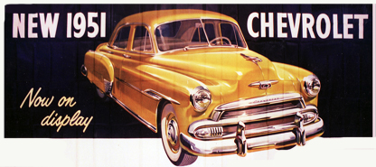 Magnificent N.O.S. 1951 Chevrolet Deluxe Automobiles billboard sign. - Front 3/4 - 89545