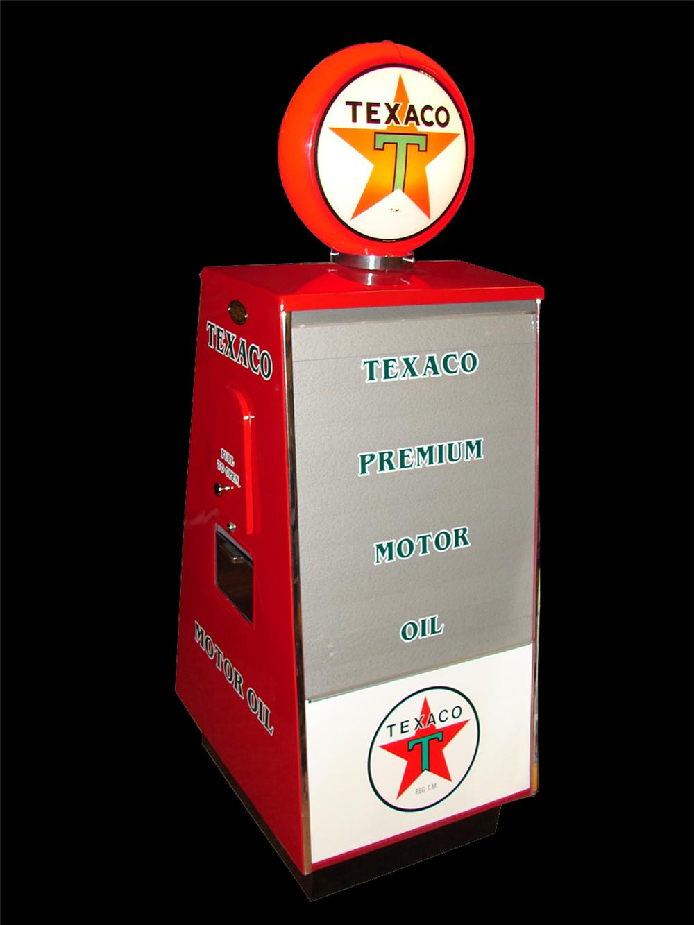Awesome 1950s Texaco Sel-Oil restored fuel island oil display cabinet. - Front 3/4 - 89555