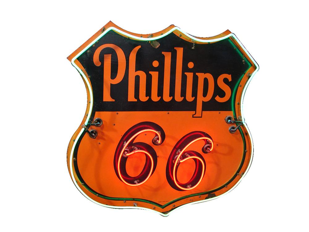 1940s Phillips 66 single-sided porcelain with neon service station sign. - Front 3/4 - 89556