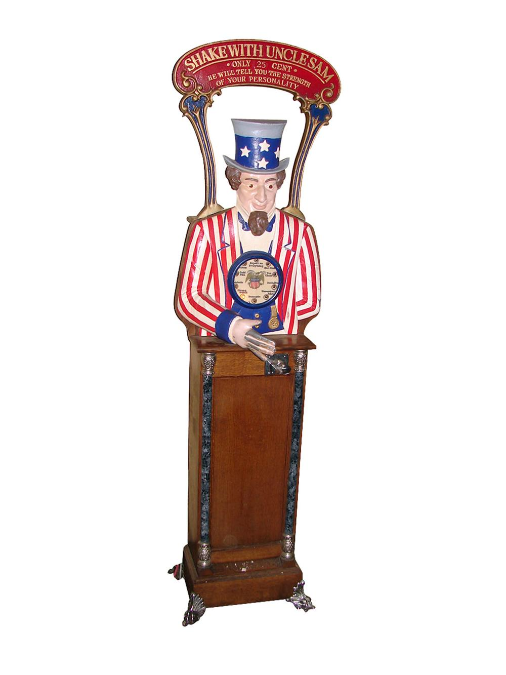 "Neat ""Shake with Uncle Sam"" coin-operated strength tester still in working condition. - Front 3/4 - 89558"