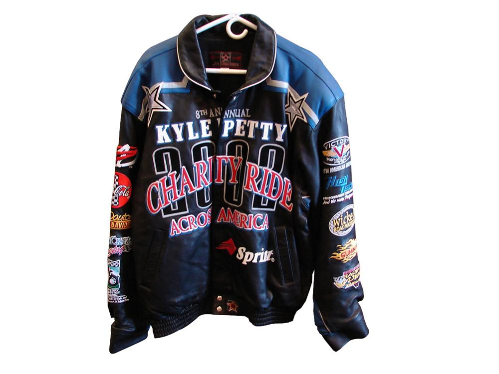 2002 Kyle Petty Charity Ride leather commemorative jacket - Never worn. JH Design. - Front 3/4 - 90734