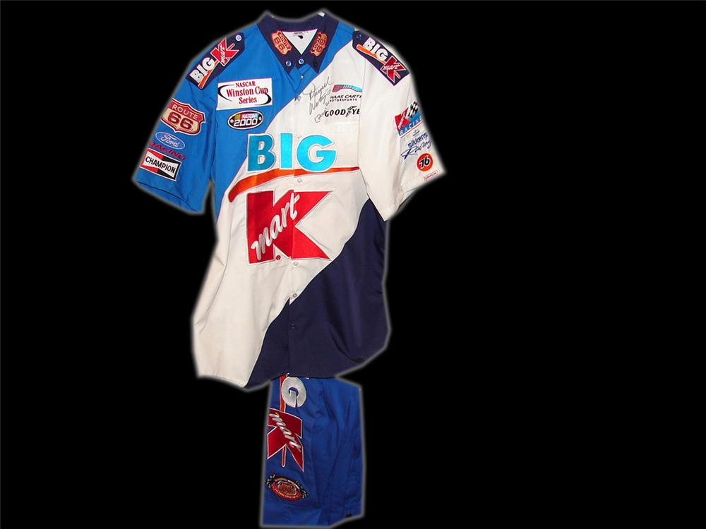 Autographed  K-Mart  pit crew suit (pants & shirt) from Darrell Waltrip #66 car. - Front 3/4 - 90739