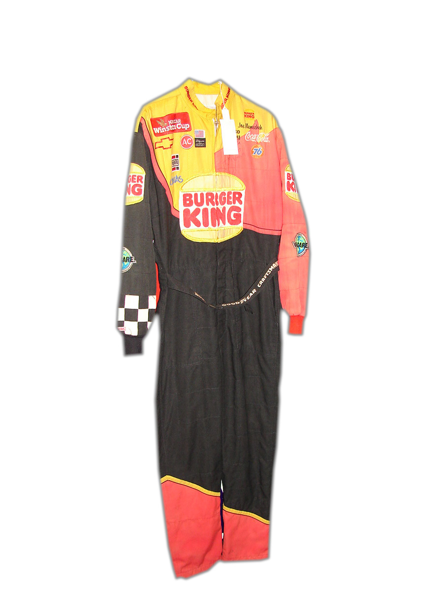 Autographed Joe Nemechek Burger King race worn driver  suit. - Front 3/4 - 90740