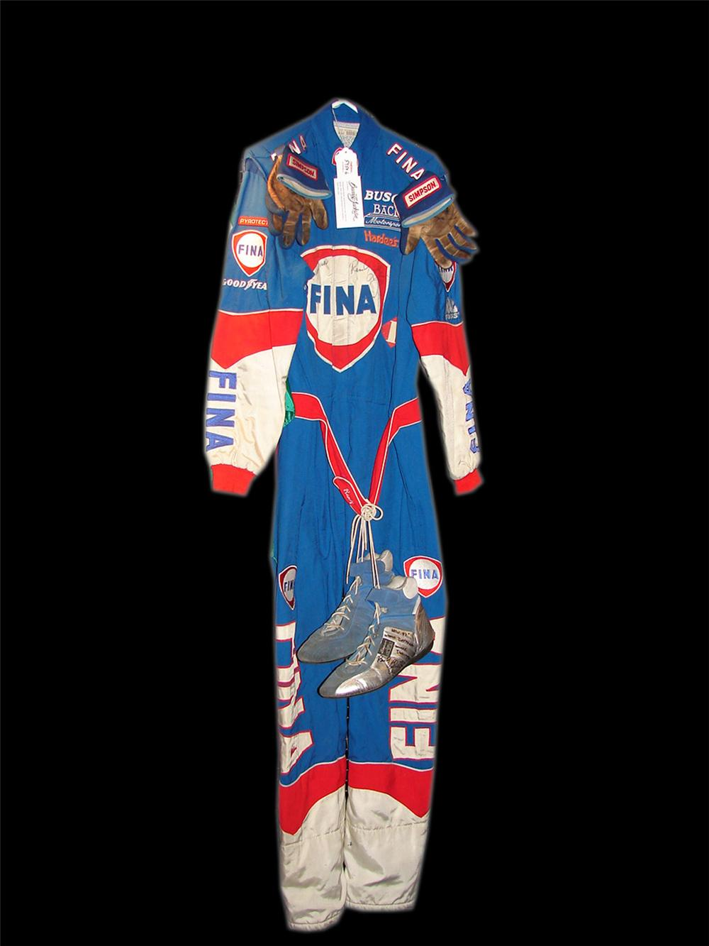 Autographed Randy Lajoie Fina race worn driver suit, shoes and gloves. - Front 3/4 - 90742