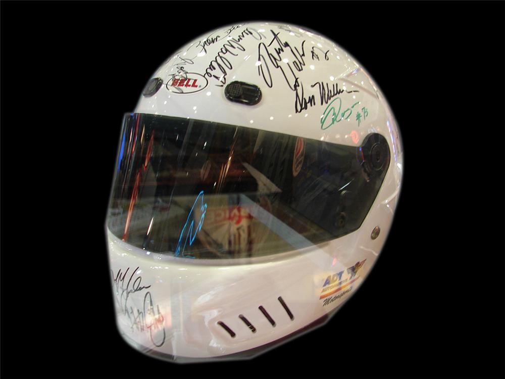 NASCAR Driver helmet autographed by Jeff Gordon, Bobby & Terry LaBonte, Dale Earnhardt, Rusty Wallace and others from 1995-1996. - Front 3/4 - 90744