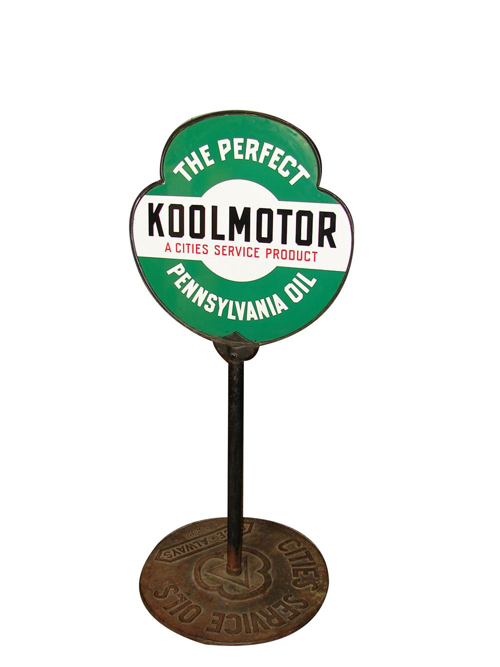"Extremely hard to find 1930s Cities Service ""Kool Motor""  Oil double-sided porcelain curb sign in original stand. - Front 3/4 - 91156"