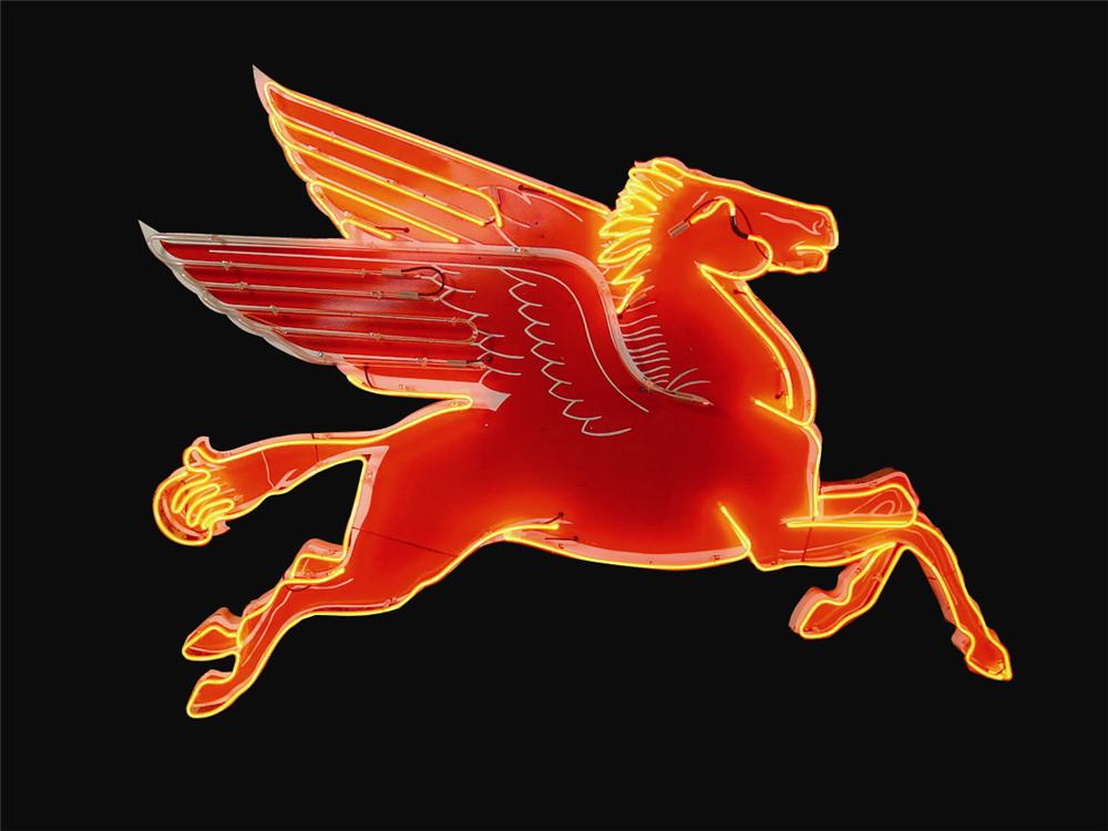 Unparalleled late 1950s-early 1960s Mobil service station porcelain neon Pegasus sign. - Front 3/4 - 91158