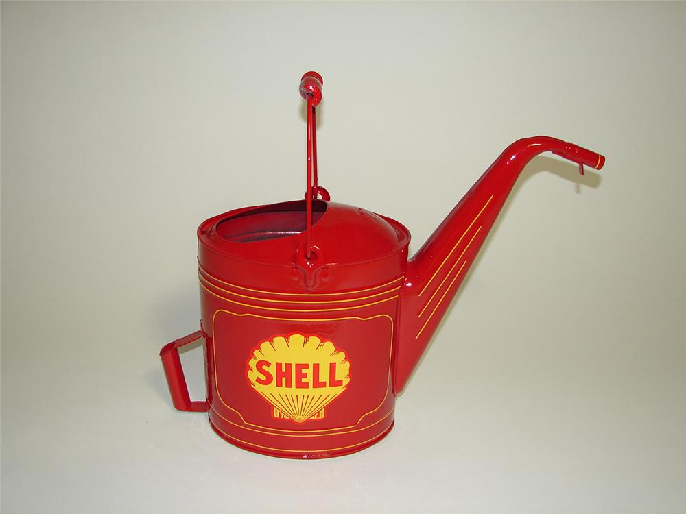 Restored 1930s Shell Oil Radiator Service water/anti-freeze can with art deco lines. - Front 3/4 - 91250