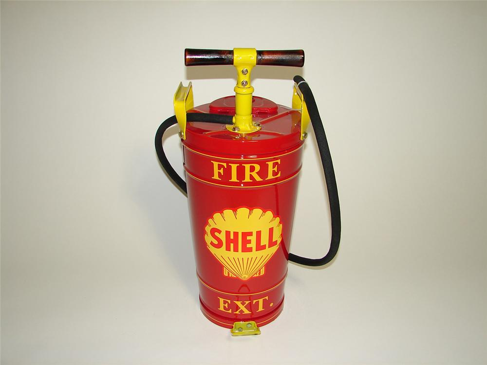 Neat 1930s Shell Service Station restored hand pump fire extinguisher. - Front 3/4 - 91251