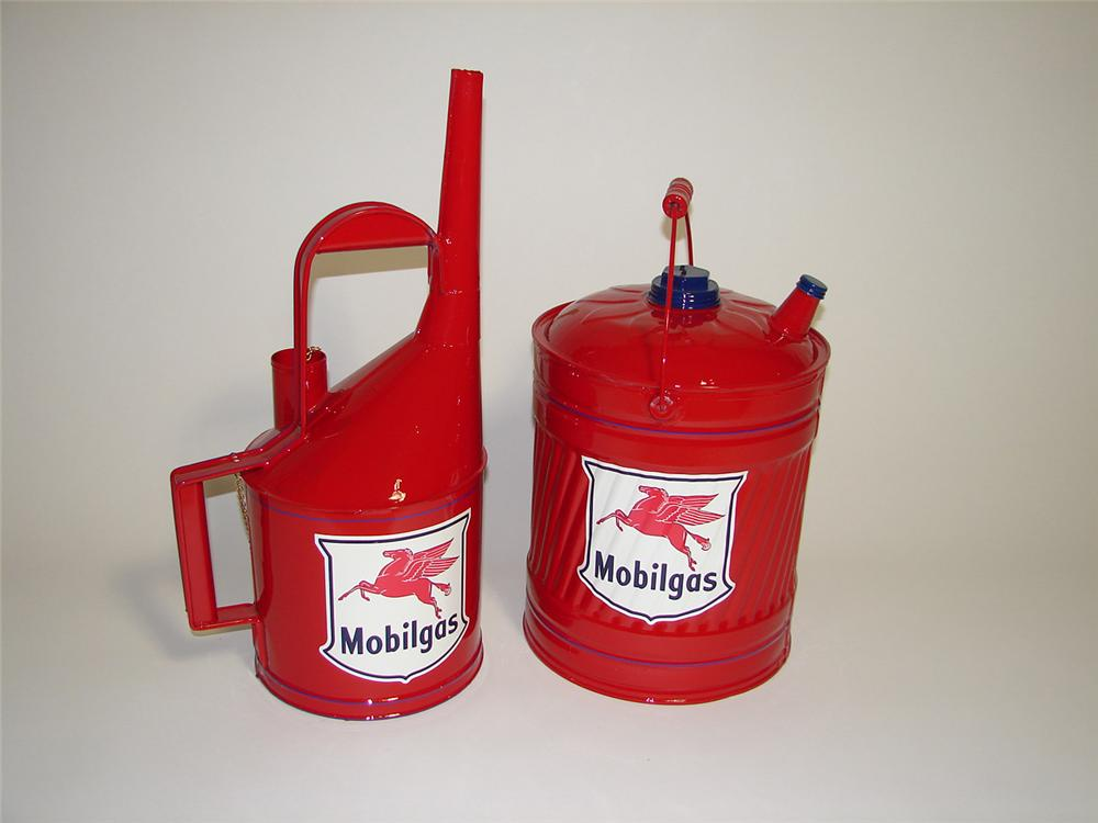 Lot of two restored vintage Mobil Oil service department cans. - Front 3/4 - 91255
