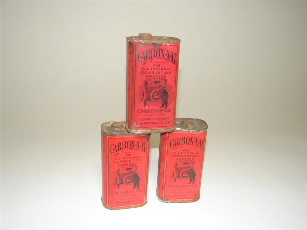 Lot of three Late teens Carbon-X-It tins with touring car pictured. - Front 3/4 - 91258