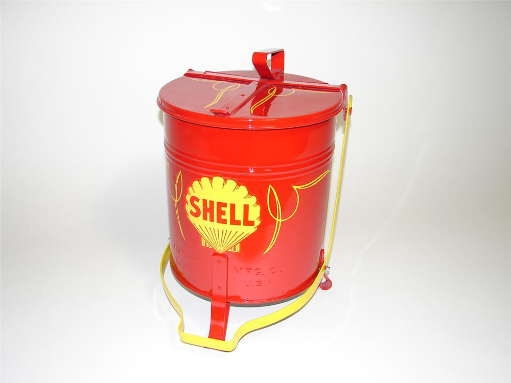 Vintage 1930s Shell Oil restored service department oil rag can. - Front 3/4 - 91276