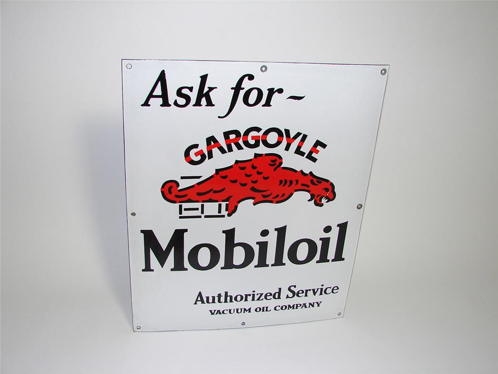 Very clean 1930s Mobil Gargoyle Motor Oil single-sided porcelain service station sign. Displays strongly! - Front 3/4 - 91282