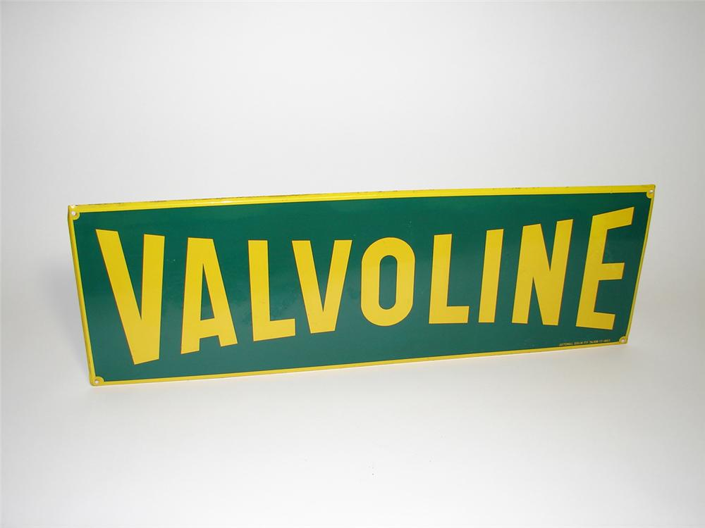 Unusual 1955 Valvoline Motor Oil single-sided tin garage sign. - Front 3/4 - 91283