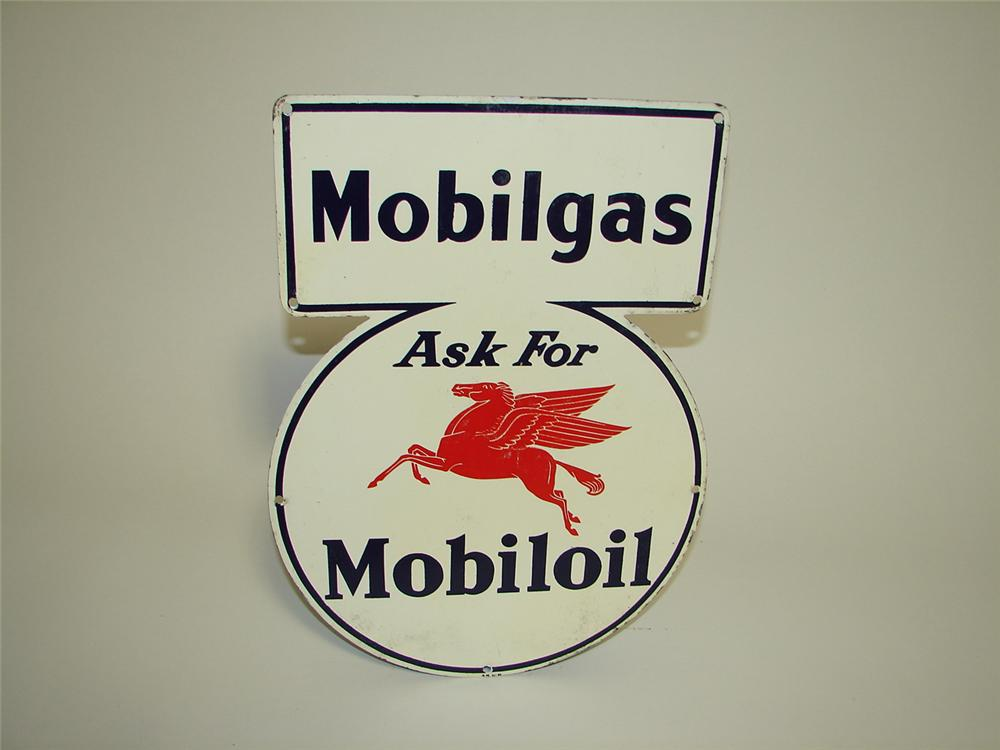 Striking 1941 Mobilgas-Mobiloil single-sided tin painted lubester sign. - Front 3/4 - 91286