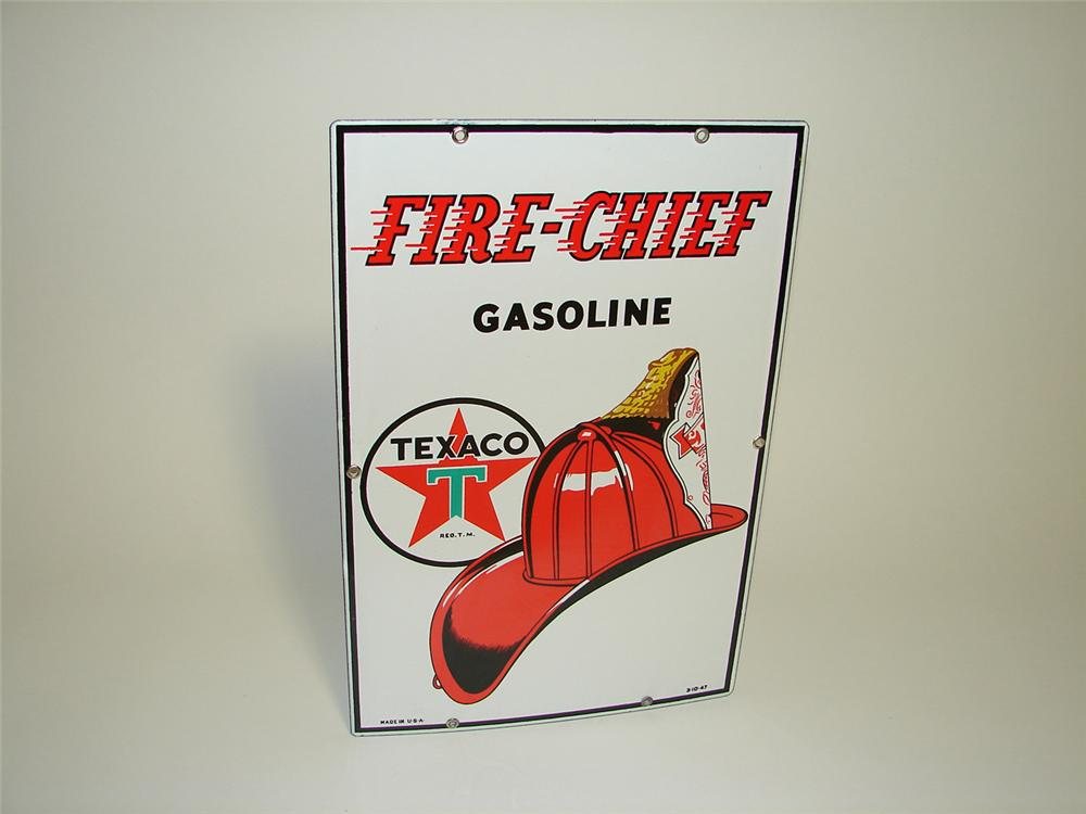 N.O.S. 1947 Texaco Fire-Chief porcelain pump plate sign. - Front 3/4 - 91291