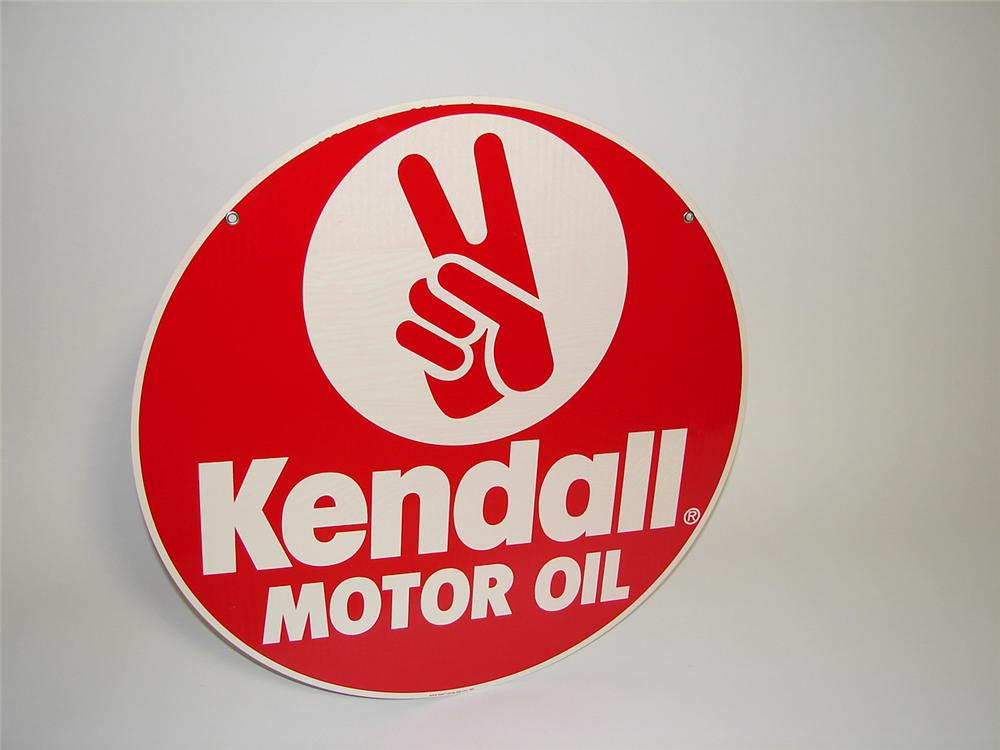N.O.S. Kendall Motor Oil double-sided tin garage sign with hand logo. - Front 3/4 - 91293