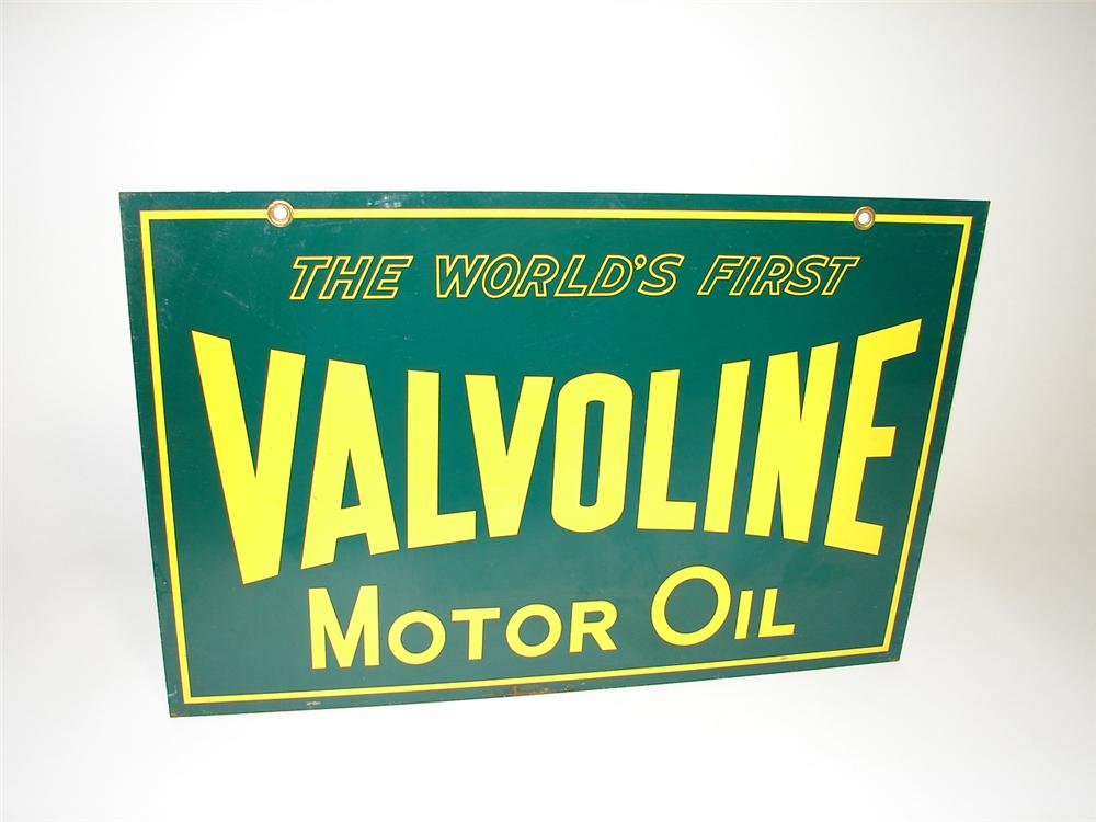 N.O.S. 1950s Valvoline Motor Oil double-sided tin garage sign. - Front 3/4 - 91301