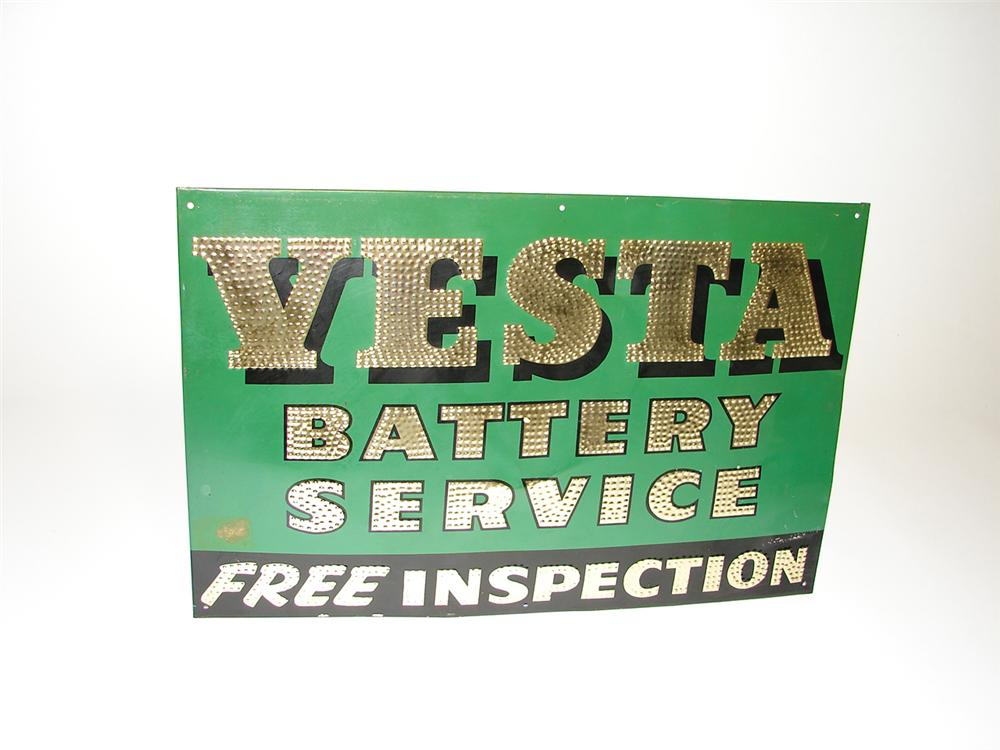 N.O.S. 1930s Vesta Battery Service single-sided tin garage sign with reflective paint. - Front 3/4 - 91303