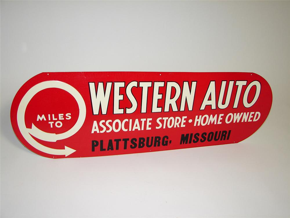 N.O.S. 1930s Western Auto single-sided tin painted embossed garage sign. - Front 3/4 - 91304