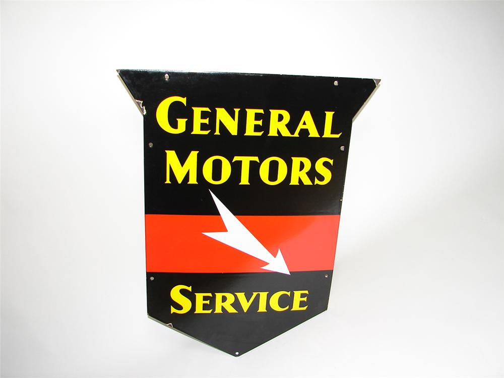 Extremely rare 1930s-40s General Motors Service double-sided porcelain shield sign. Constructed out of very heavy, early por... - Front 3/4 - 91305