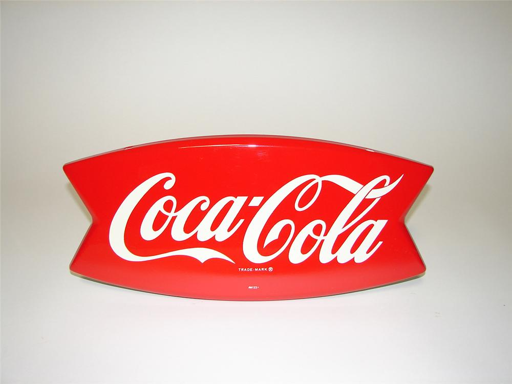 Unsurpassable N.O.S. 1950s Coca-Cola die-cut fishtail sign. Pulled out of the original shipping paper. - Front 3/4 - 91309