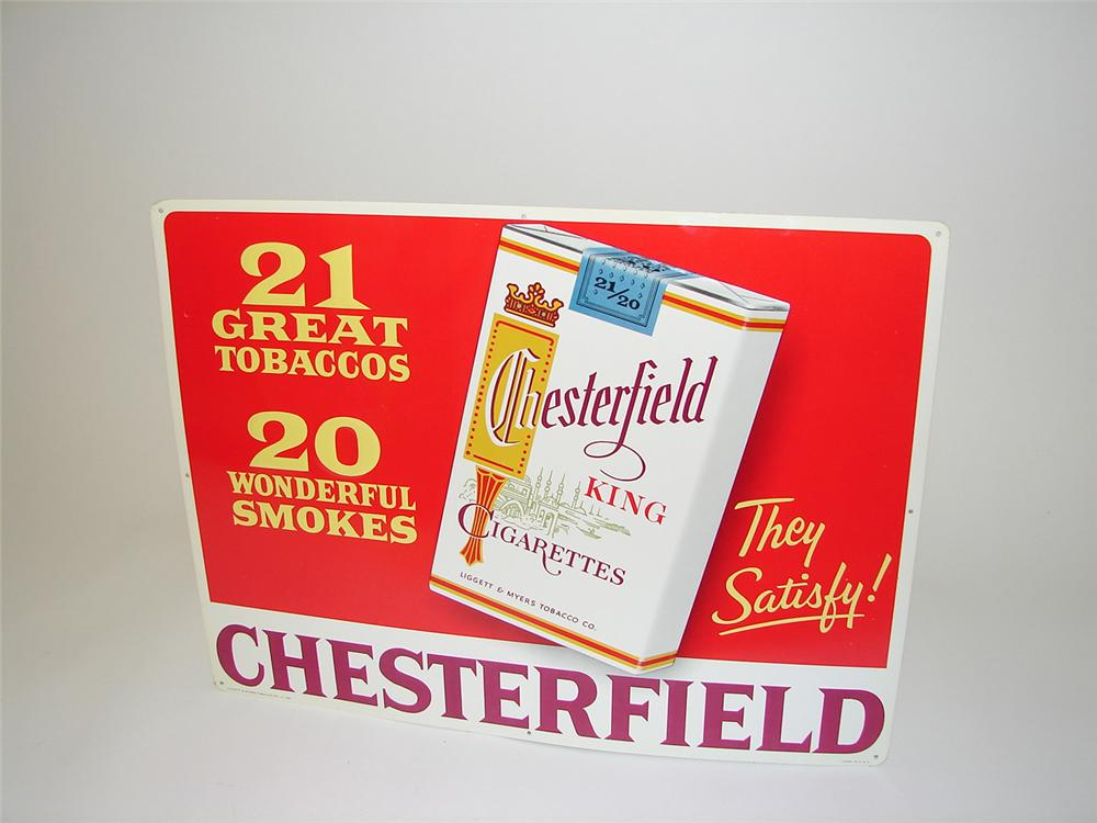 N.O.S. late 1950s Chesterfield Cigarettes tin painted embossed tin general store sign. - Front 3/4 - 91311