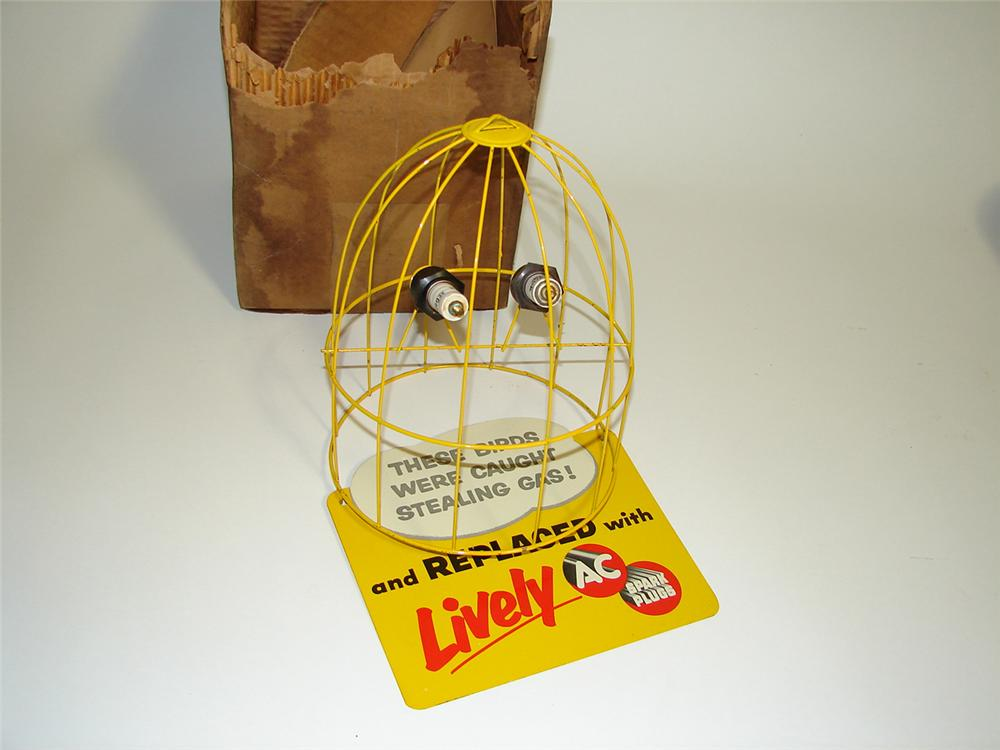 Neat N.O.S. 1950s AC Spark Plugs three dimensional bird cage store display sign still in the original box. - Front 3/4 - 91312