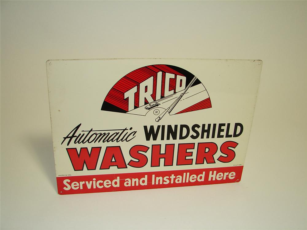 N.O.S. 1950s Trico Windshield Washers single-sided tin painted garage sign with logo. Pulled out of the original shipping paper. - Front 3/4 - 91314
