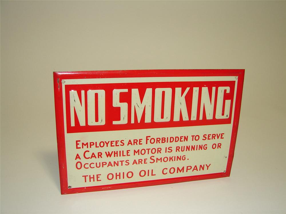 "N.O.S. 1930s Ohio Oil Company ""No Smoking"" fuel island tin painted service station sign. Displays with some shelf wear from ... - Front 3/4 - 91316"
