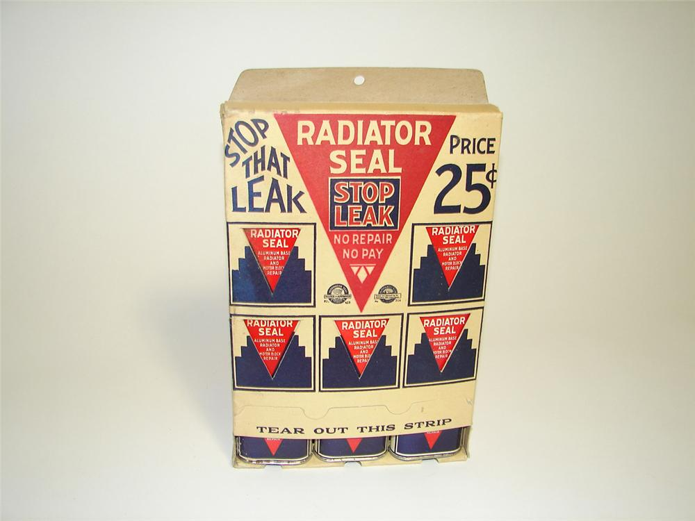 Interesting 1930s Radiator Seal Stop Leak counter-top display still full and unused with original tins. - Front 3/4 - 91320