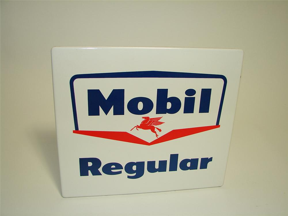 N.O.S. late 1950s Mobil Regular porcelain pump plate sign with Pegasus logo. - Front 3/4 - 91322