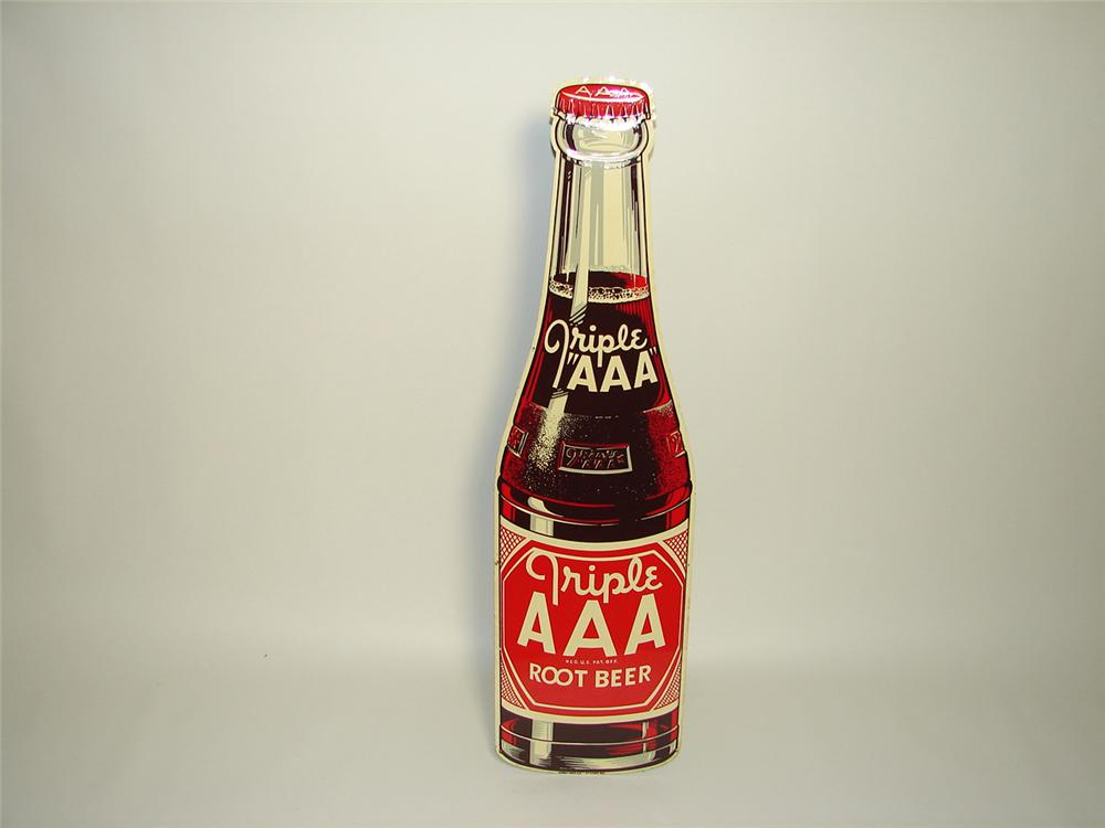 Fantastic N.O.S. 1948 Triple A Root Beer die-cut tin bottle shaped sign. - Front 3/4 - 91323