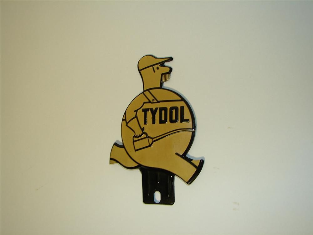 N.O.S. 1930s Tydol Oil and Gasoline license plate attachment sign with Tydol Man graphic. - Front 3/4 - 91331