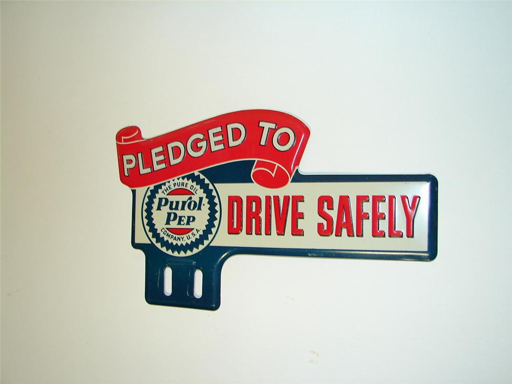 """N.O.S. 1930s Purol-Pep Gasoline """"Drive Safely"""" license plate attachment sign. Appears to have never been used. - Front 3/4 - 91332"""