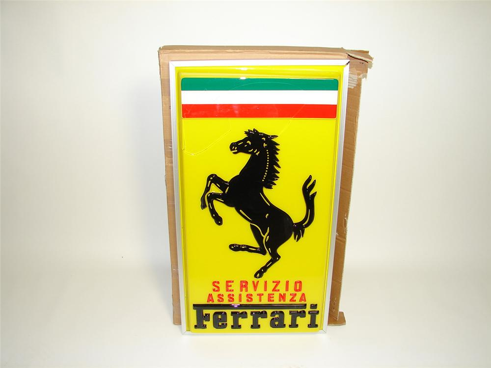Damaged Original 1970s Ferrari Service dealership sign still in the original box. Designed for the Italian market. - Front 3/4 - 91334