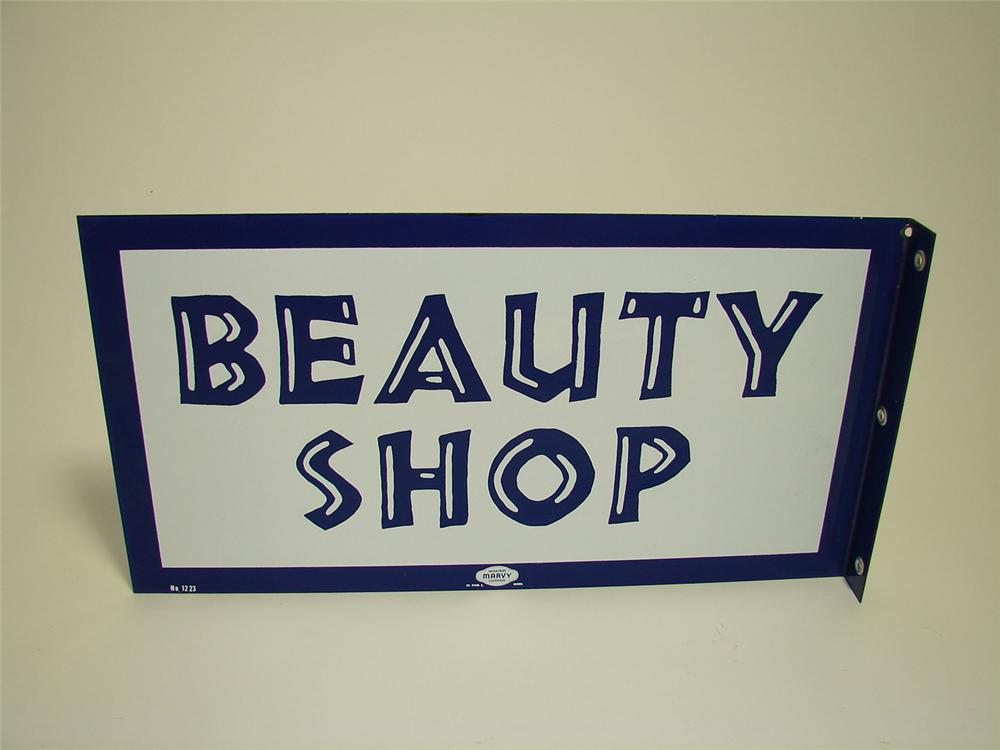 N.O.s. 1950s-60s Beauty Shop porcelain flange sign. - Front 3/4 - 91337