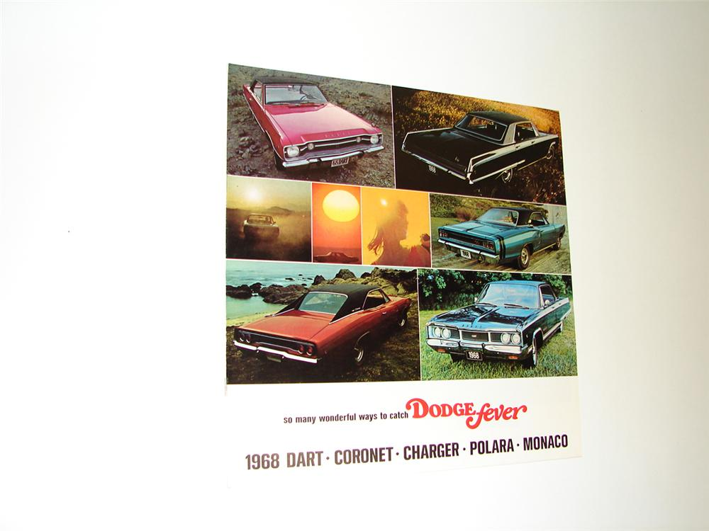 Choice N.O.S. 1968 Dodge Fever 20 page color sales brochure for Dart, Coronet, Charger, Polara, and Monaco. - Front 3/4 - 91364