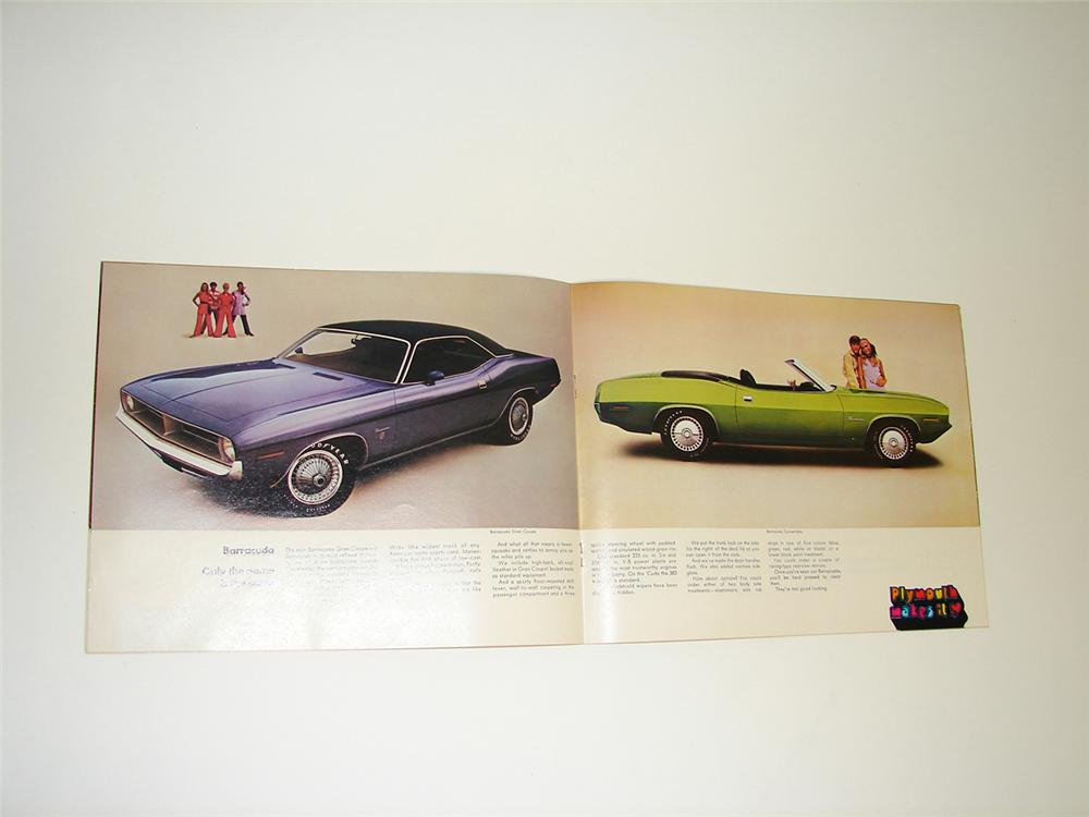 "N.O.S. 1970 Plymouth ""Makes It"" 24 page color sales brochure covering Furys, Belvederes, Barracudas, and Valiants. - Front 3/4 - 91367"