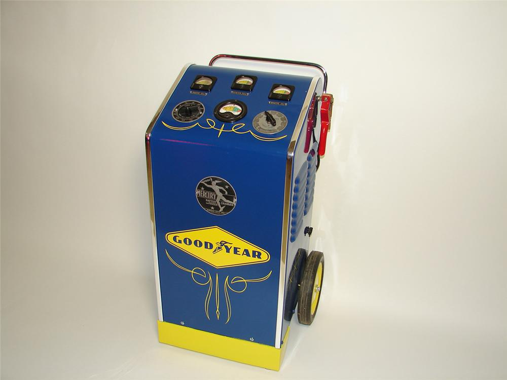 Fabulous 1940s Goodyear Service Department Mercur Mfg. Charger and Tester on wheels. - Front 3/4 - 91405