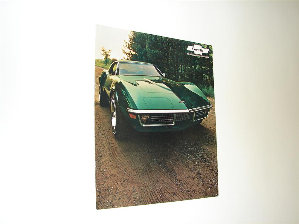 Killer N.O.S. 1971 Corvette 12 page color sales brochure for Stingray Coupe and Convertible. - Front 3/4 - 91407