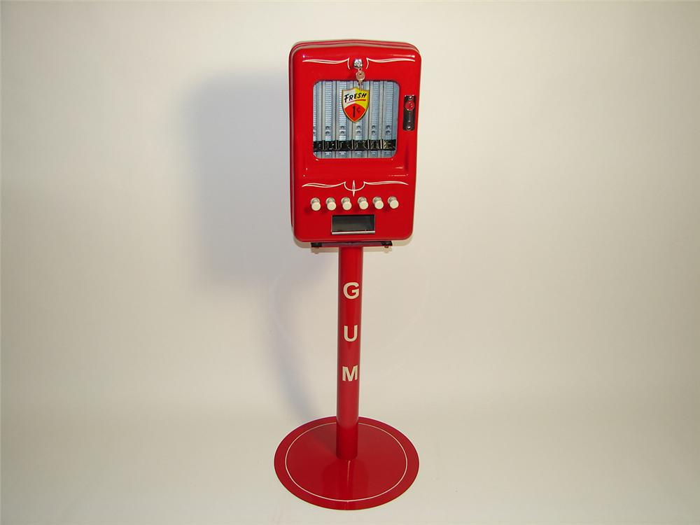 Outstanding 1940s-50s restored service station one cent gum machine on stand. - Front 3/4 - 91409